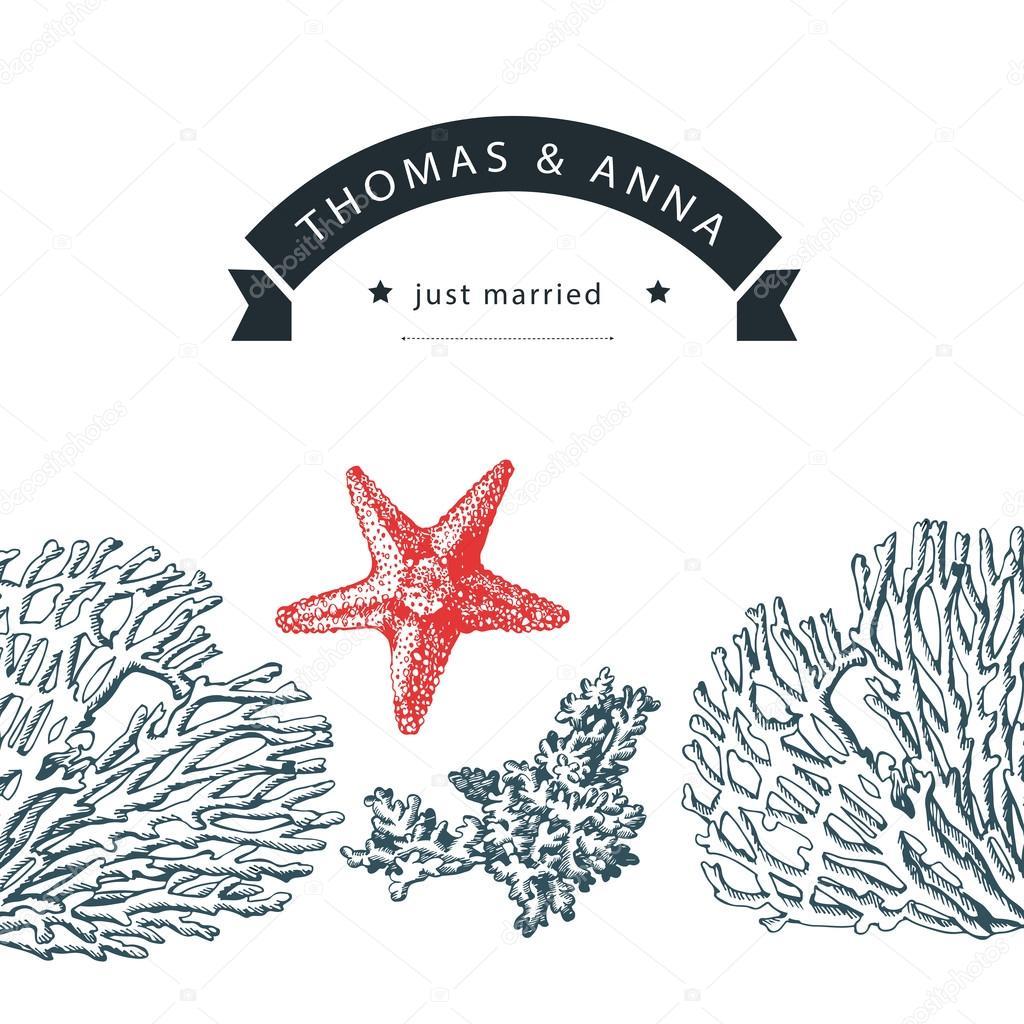 Wedding invitation with marine motifs — Stock Vector © Ann_art #78046852