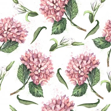 Pattern with pink hydrangeas and butterflies