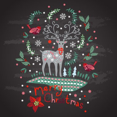 Greeting card with Christmas reindeer