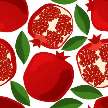 Seamless pattern with pomegranates, leaves and grains. Juicy, fresh red pomegranates on white background. Half pomegranate and whole fruits. icon