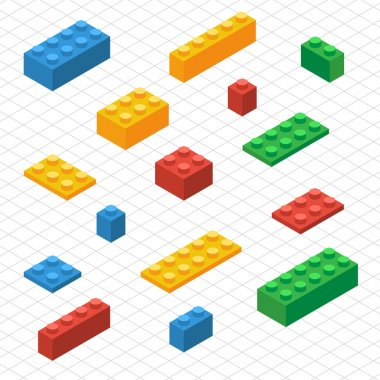 Do your self set of lego blocks in isometric view. DIY vector image. stock vector