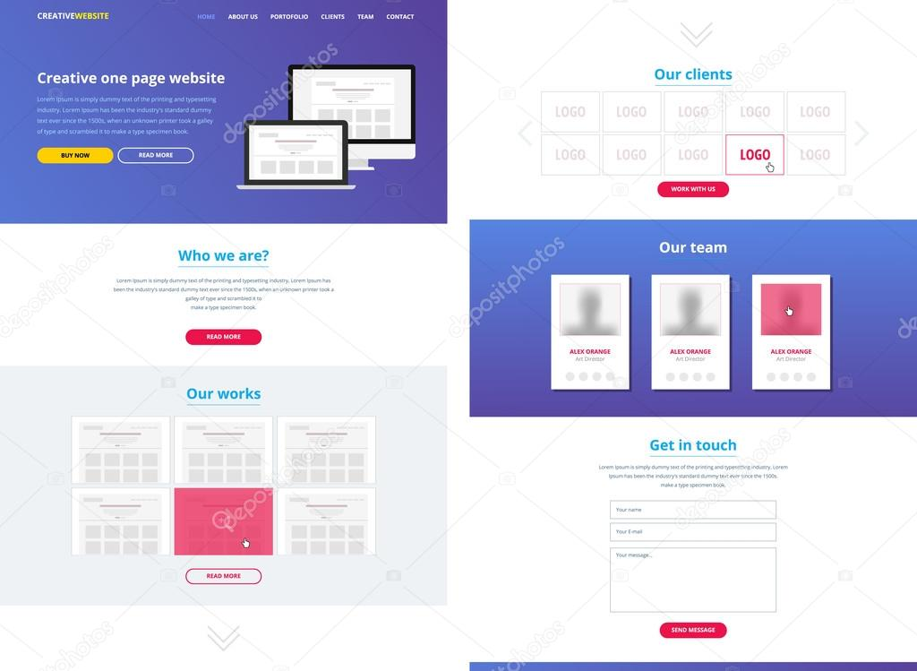 One page website design template — Stock Vector © siminitzki #69805187