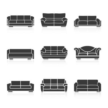 Set of black sofas