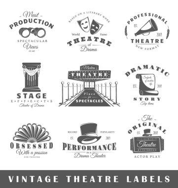 Set of vintage theatre labels
