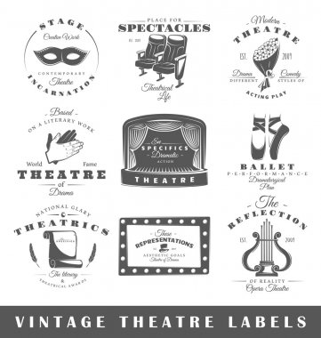 Set of vintage theatre labels