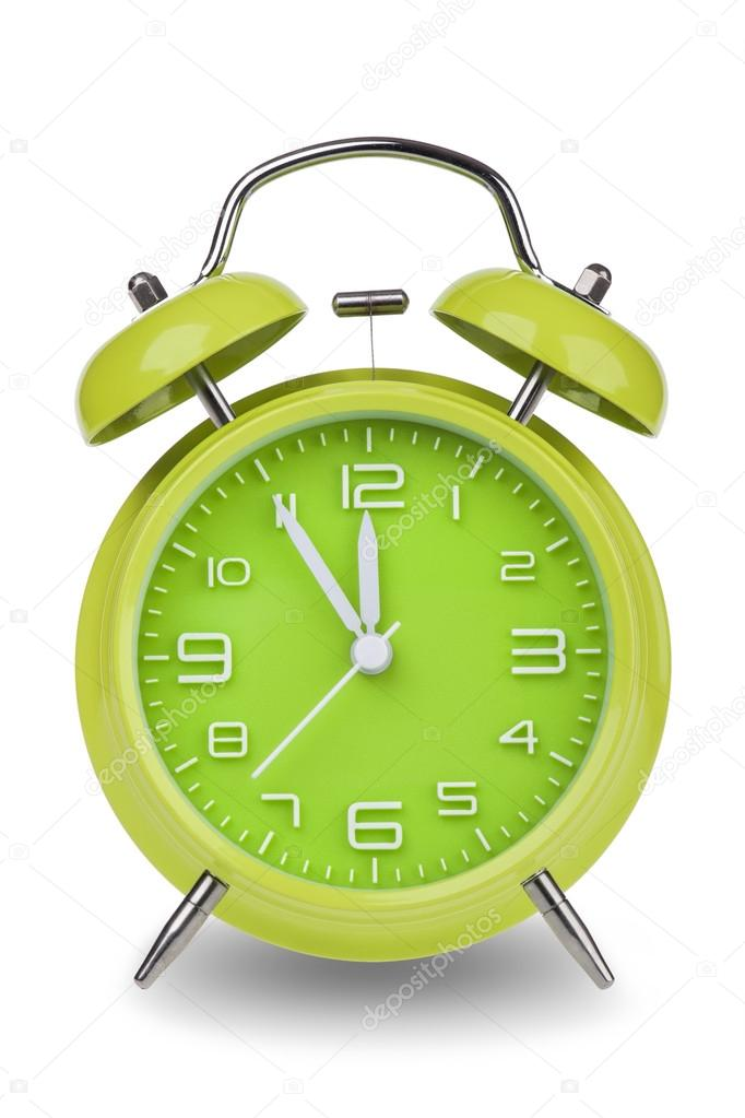 Green Alarm Clock With The Hands At 5 Minutes Till 12 Illustrating