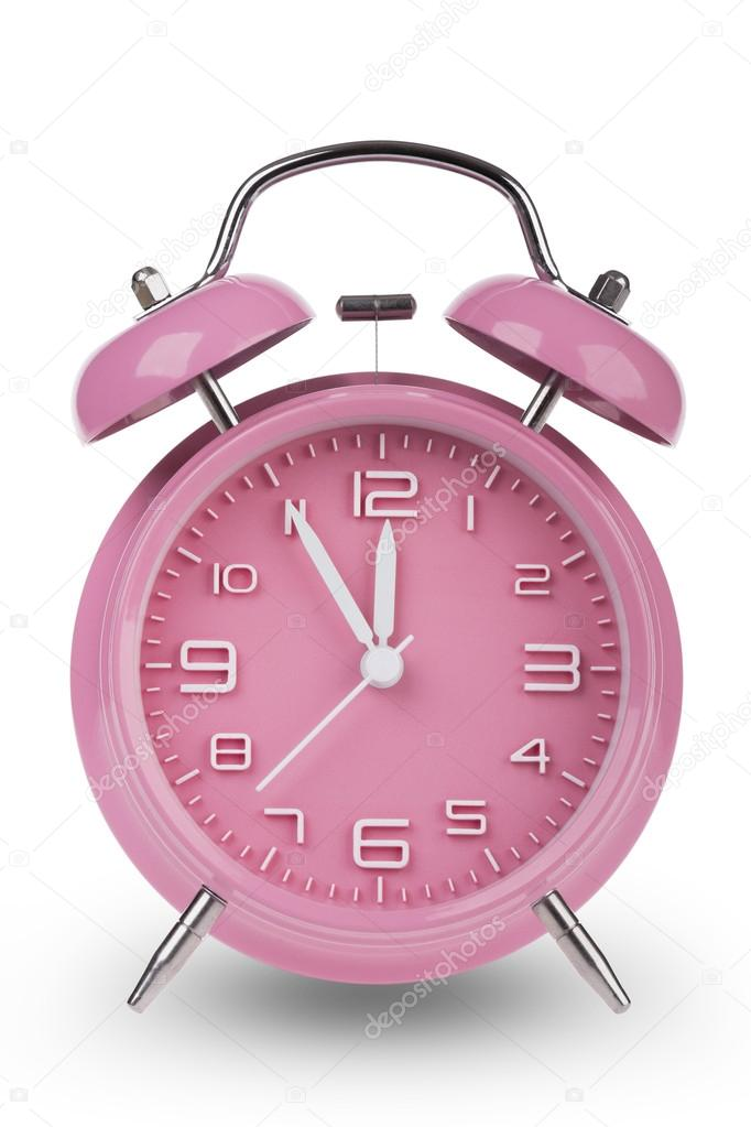 Pink Alarm Clock With The Hands At 5 Minutes Till 12 Illustrating