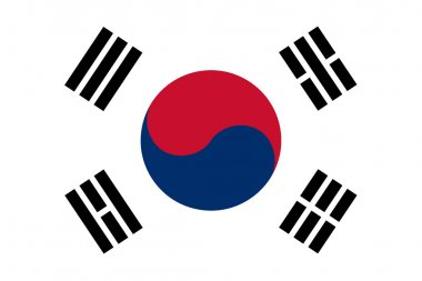 The Republic of Korea also known as South Korea official flag in both color and proportions, also known as the Taegeukgi