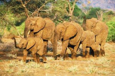 Impressionist art of African Elephant (Loxodonta africana) herd, Samboro National Reserve, Kenya, Africa stock vector