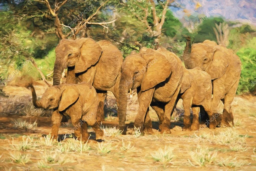 Impressionist art of African Elephant (Loxodonta africana) herd, Samboro National Reserve, Kenya, Africa