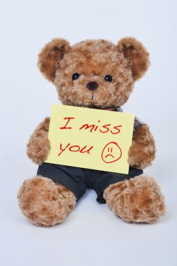 A cute teddy bear holding a yellow sign that says I miss you isolated on a white background