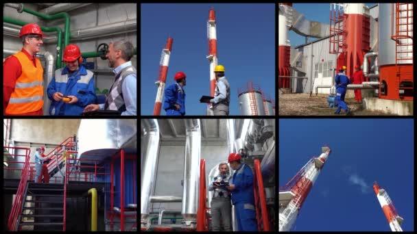 Fernwärmekraftwerk Konzeptvideo mit mehreren Bildschirmen. Bediener und Manager, die im Zentralkesselwerk arbeiten. Außen Kraftwerk mit Industrieschornsteinen. Lächelnde Arbeiter im Gespräch mit dem Technischen Leiter.