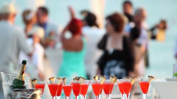 Wedding Party with Red cocktails