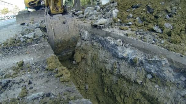 Excavator Digging Deep Trench