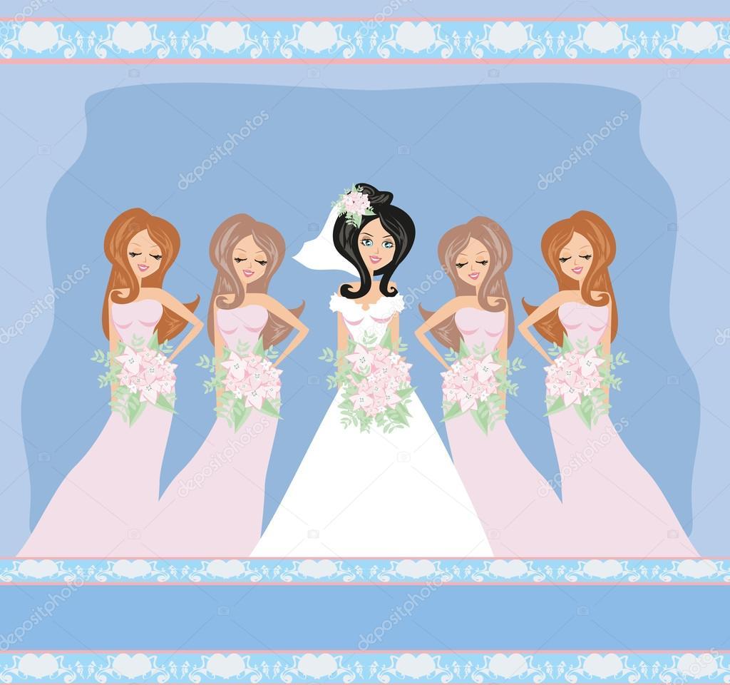 Novia con damas de honor de la boda tarjeta — Archivo Imágenes ...