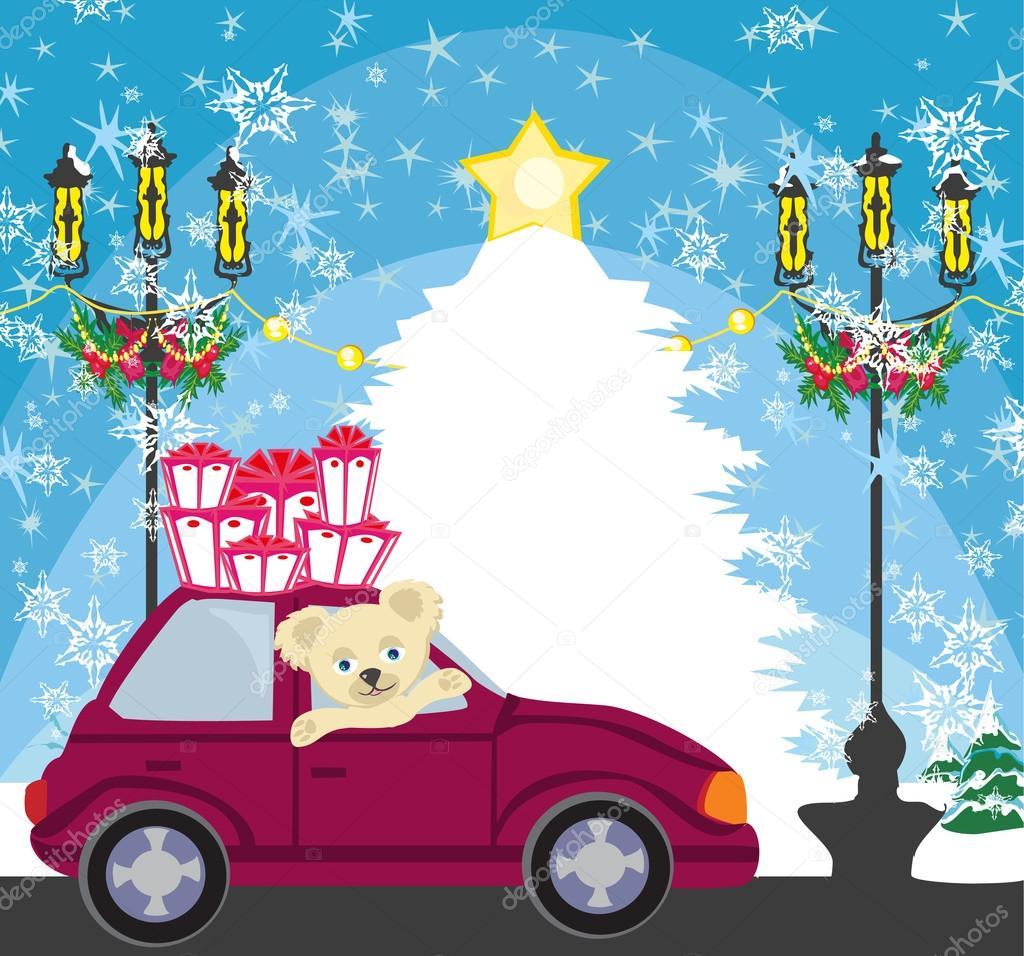 Süsse Teddybär im Auto mit Weihnachts-Geschenk-box — Stockvektor ...