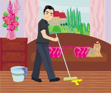 Man cleans up after dog
