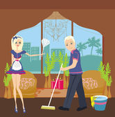 Photo Couple cleaning home