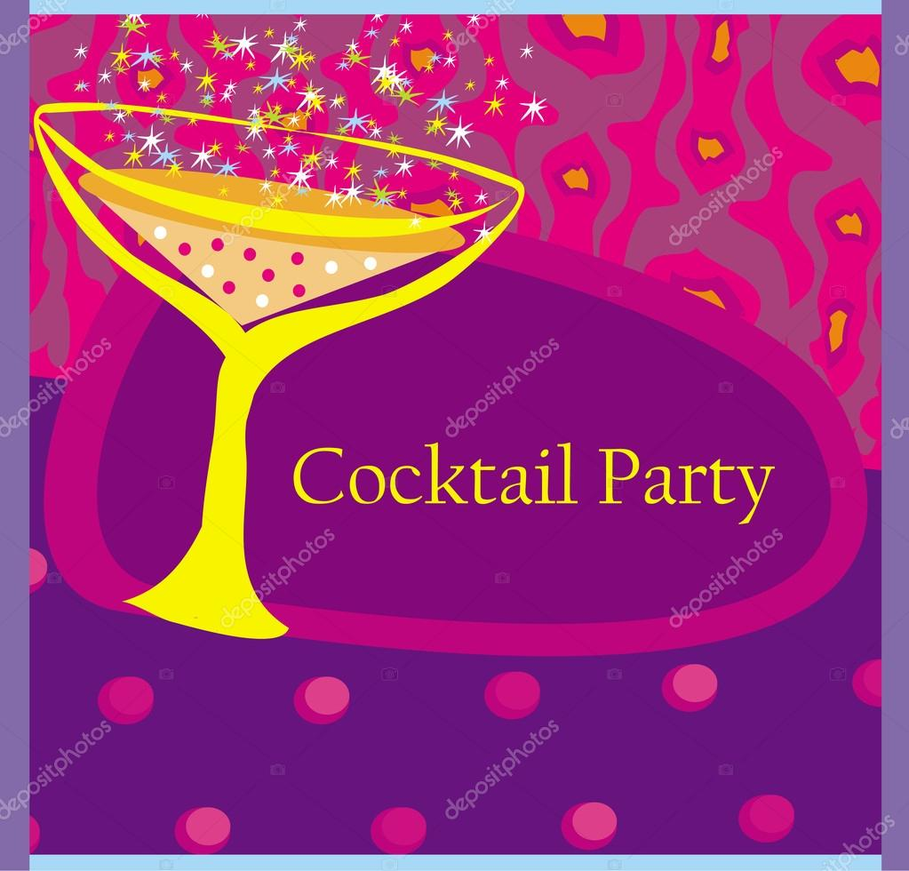 Cocktail Party Invitation Card Stock Vector Jackybrown