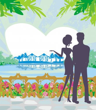 Couple on tropical clip art vector