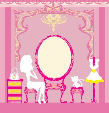 make up at home , silhouettes vector illustration