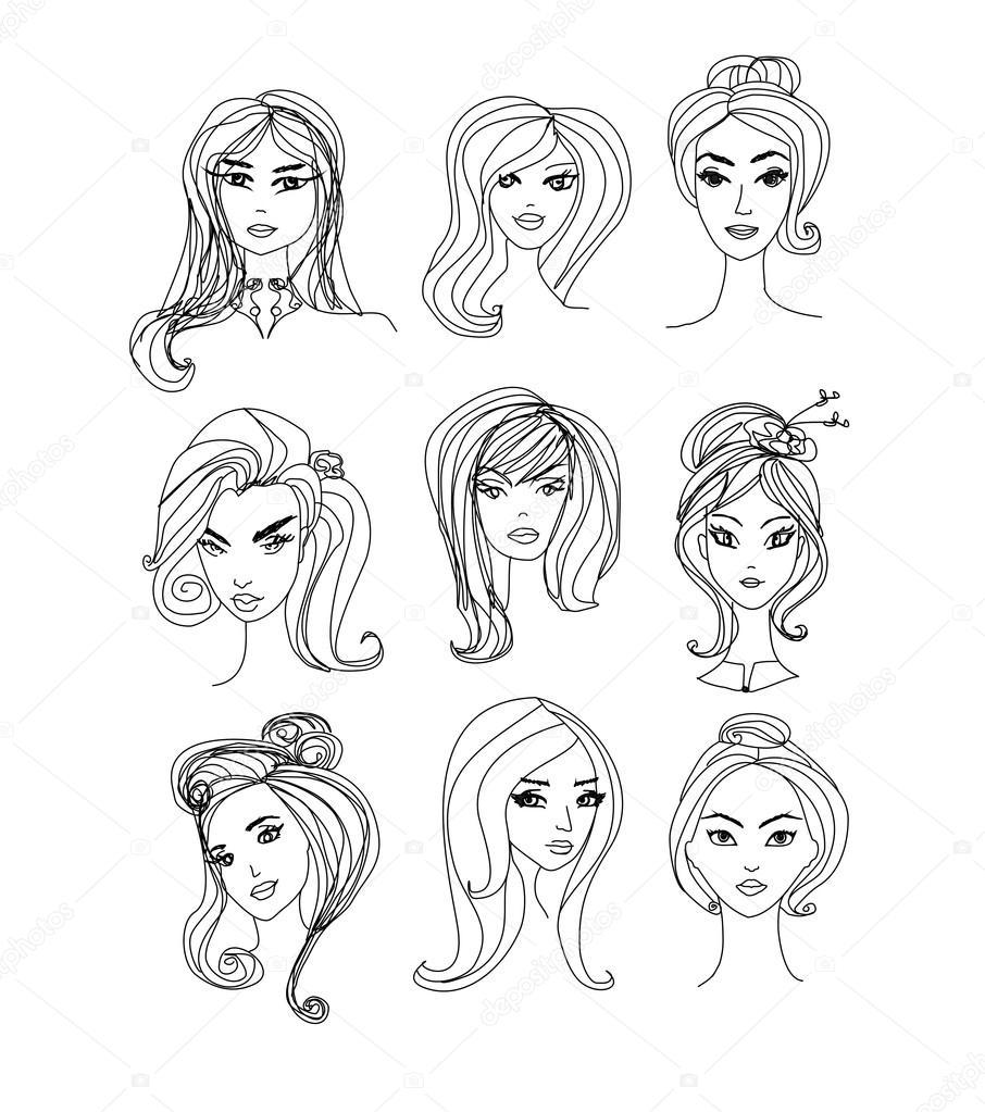 Imagenes De Personas Felices Para Colorear: Black And White Cartoon Illustration Of Women Characters