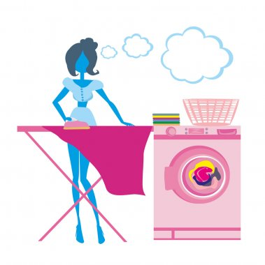 woman irons clothes, silhouette Illustration
