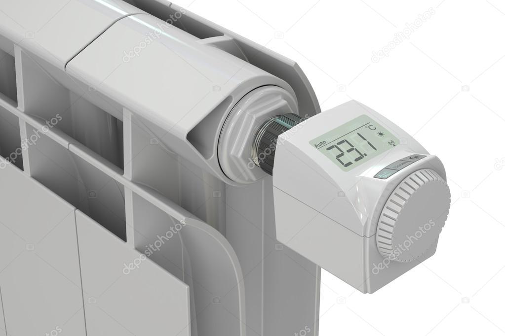 Heizkörper Mit Digitalen Thermostatischen Heizkörperventil 3d Rück