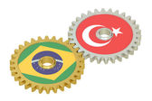 Brazil and Turkish flags on a gears, 3D rendering