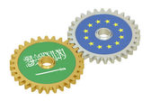 Saudi Arabia and EU flags on a gears, 3D rendering