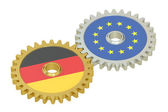 Germany and EU flags on a gears, 3D rendering