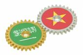 Saudi Arabia and Vietnam flags on a gears, 3D rendering