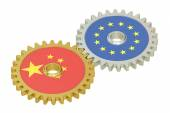 Chinese and EU flags on a gears, 3D rendering