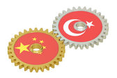 Chinese and Turkish flags on a gears, 3D rendering