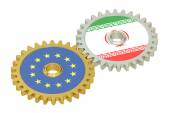 Iran and EU flags on a gears, 3D rendering