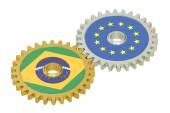 Brazil and EU flags on a gears, 3D rendering