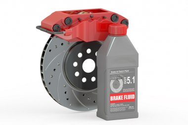 Brake Fluid with Disc Brake, 3D rendering