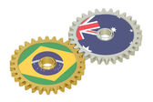 Brazil and Australia flags on a gears, 3D rendering