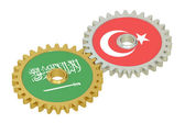 Turkey and Saudi Arabia relations concept, flags on a gears. 3D