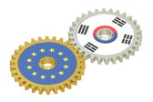 South Korea and EU flags on a gears, 3D rendering