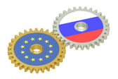 Russia and EU flags on a gears, 3D rendering