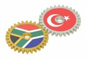 South Africa and Turkey relations concept, flags on a gears. 3D