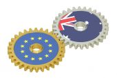 Australia and EU flags on a gears, 3D rendering