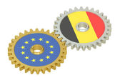 Belgium and EU flags on a gears, 3D rendering