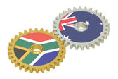 South Africa and Australia relations concept, flags on a gears.