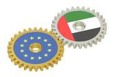 EU és az Egyesült Arab Emírségek kapcsolatok fogalma, zászlókat a fogaskerekek. 3D-leképezés