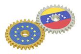 EU and Venezuela relations concept, flags on a gears. 3D renderi