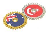 Egyesült Királyság és Törökország zászlók a fogaskerekek, 3d-leképezés