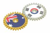 Australia and South Korea flags on a gears, 3D rendering