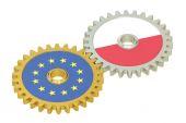 Lengyelország és uniós zászlók a fogaskerekek, 3d-leképezés